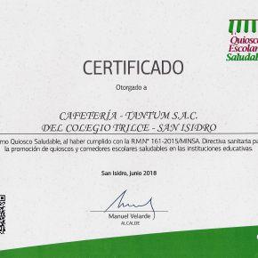 Nuevamente La Cafetta es reconocida como Quiosco Escolar Saludable